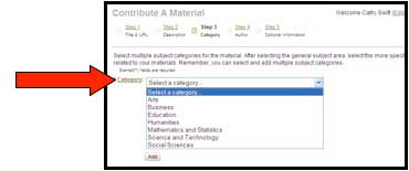 "Screenshot of MERLOT ""contribute a material"" page with arrow indicating the select a category option"