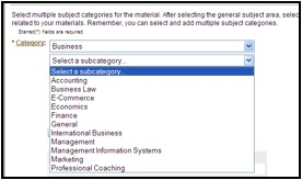 "Screenshot of MERLOT ""contribute a material"" page with arrow indicating the select a sub-category option"