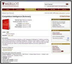 Screenshot of MERLOT showing the newly submitted material with display image