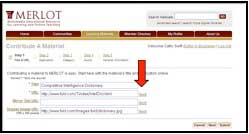 "Screenshot of MERLOT ""contribute a Material"" page with arrow pointing to the ""test"" button"