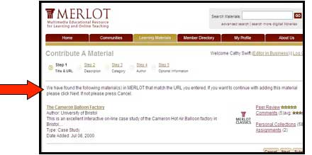 "Screenshot of MERLOT ""contribute a Material"" webpage with arrow indicating text that warns if a site has been previously submitted to MERLOT"