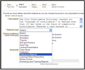 "screenshot MERLOT ""Contribute a Material"" webpage showing that a user must select a Material Type before submission. In this case reference material is selected"